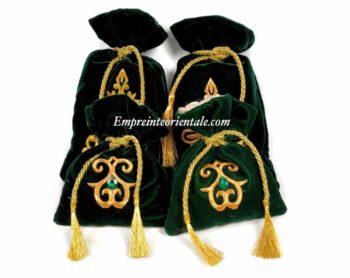 bourse henna en velours vert