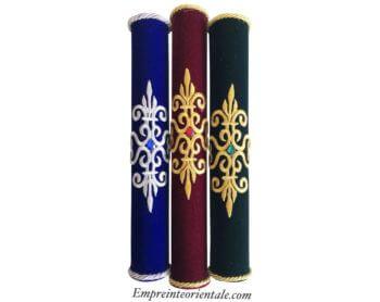 Portes bougies en velours bleu bordeaux vert