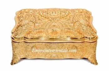 boite à bijoux doré en metal argenté
