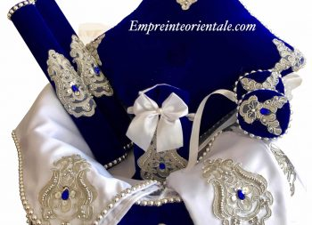 coffret henna mariage oriental velours bleu