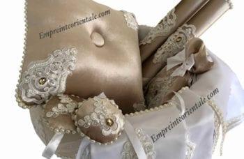 corbeille velours creme satin mariage arabe