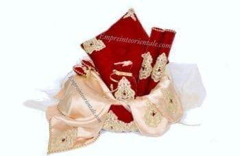 corbeille henna velours rouge mariage