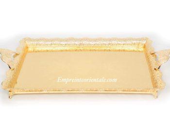 plateau grand doré en métal