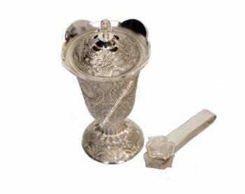 encensoir argente et pince charbon argente