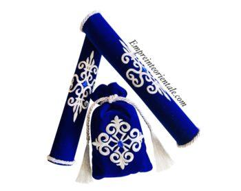 Pack porte bougie velours bleu argenté