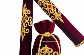 porte bougie henna rouge avec sa bourse de henné