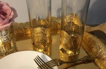 verre à jus dorée pour pièce montée mariage arabe