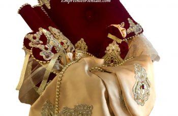 Corbeille coffret henna en velours bordeaux et satin creme mariage oriental
